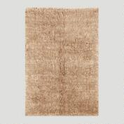 Tan Flokati Wool Rug
