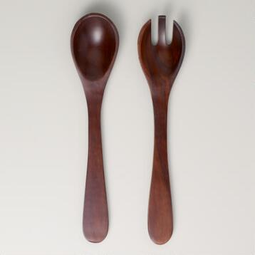 Angled Wood Salad Servers, Set of 2