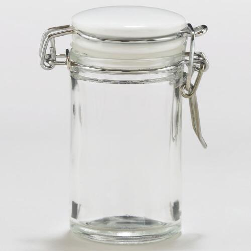 Spice Jars with White Ceramic Lids, Set of 6