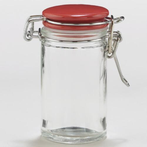 Spice Jars with Red Ceramic Lids, Set of 6