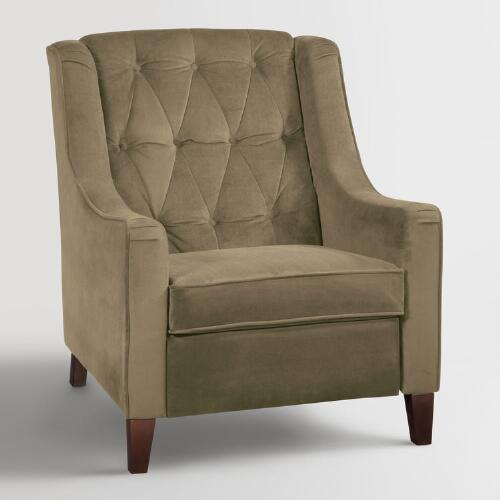 Coffee Victoria Velvet Tufted High-Back Chair
