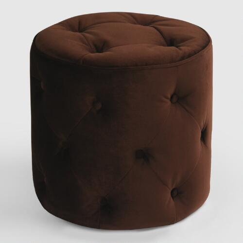 Chocolate Tufted Velvet Ottoman