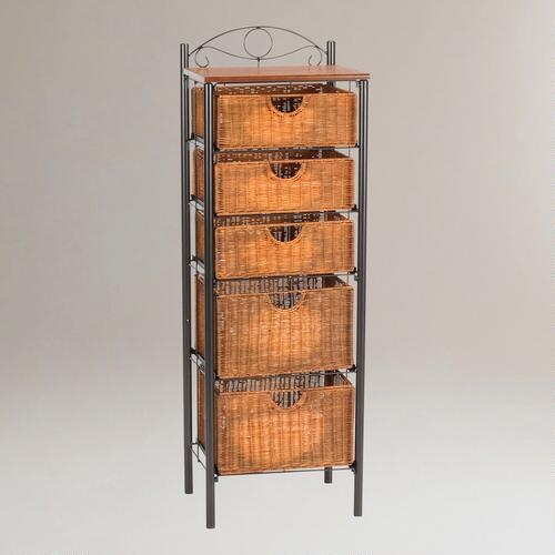 Iron and Wicker 5-Drawer Storage Tower
