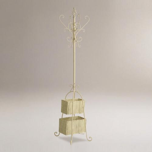 Ivory Metal Coat Rack with Rattan Storage