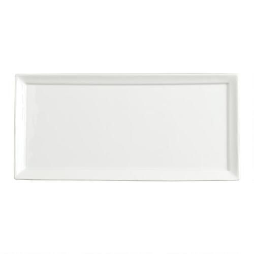 White Porcelain Rectangular Tasting Plates, Set of 2
