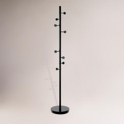 Black Metal Peg Coat Rack