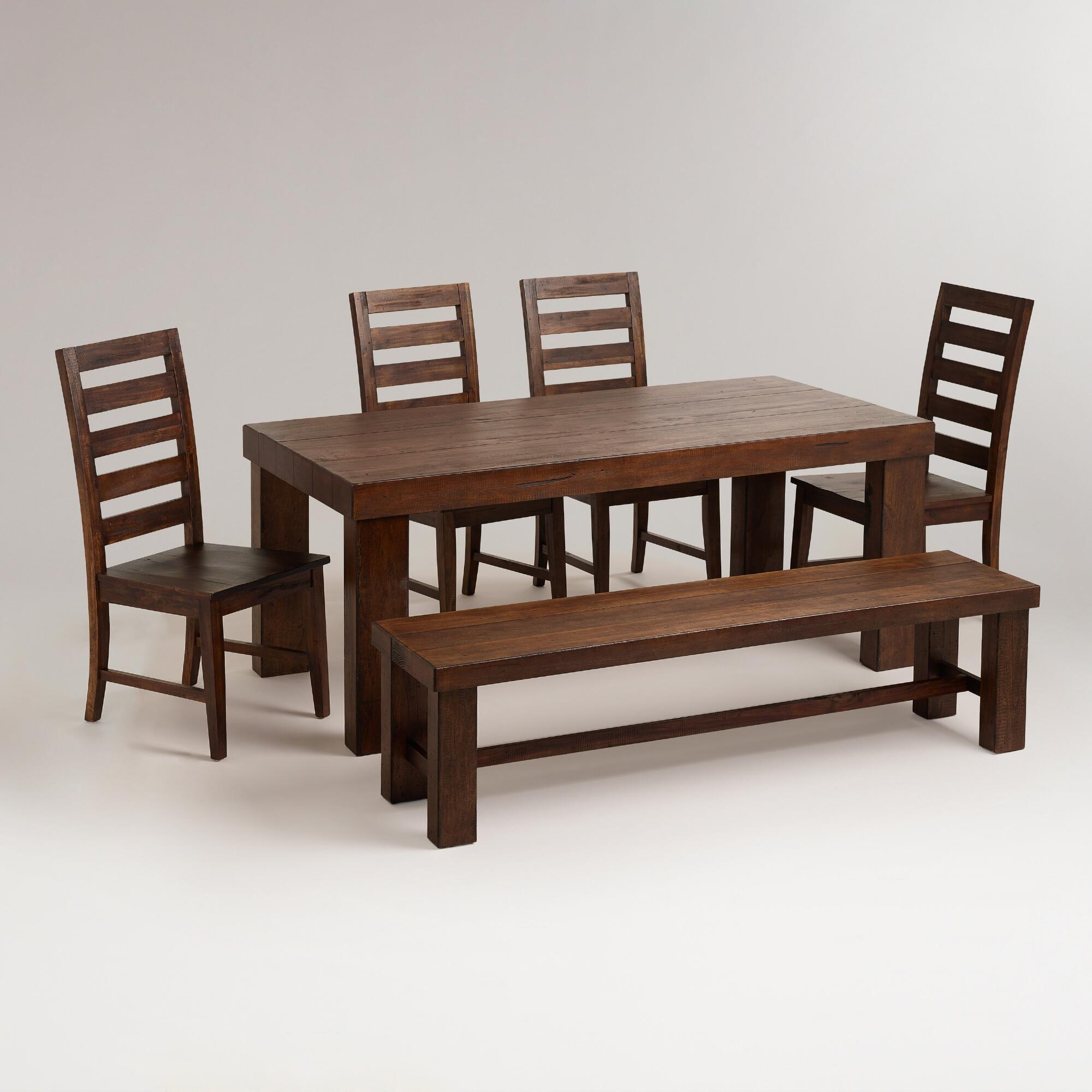 World Market Tables: Francine Dining Table, Bench And Chairs Furniture Set