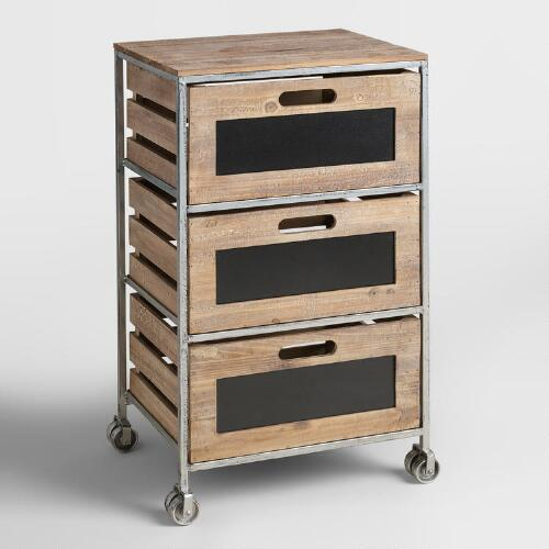 rolling cart with drawers wood and metal 3 drawer mackenzie rolling cart world market 25618