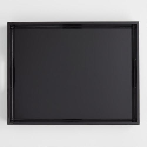 black serving tray black rectangular lacquer serving tray world market 1705