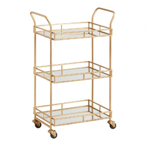 gold bar cart gold cole 3 tier rolling bar cart world market 31166