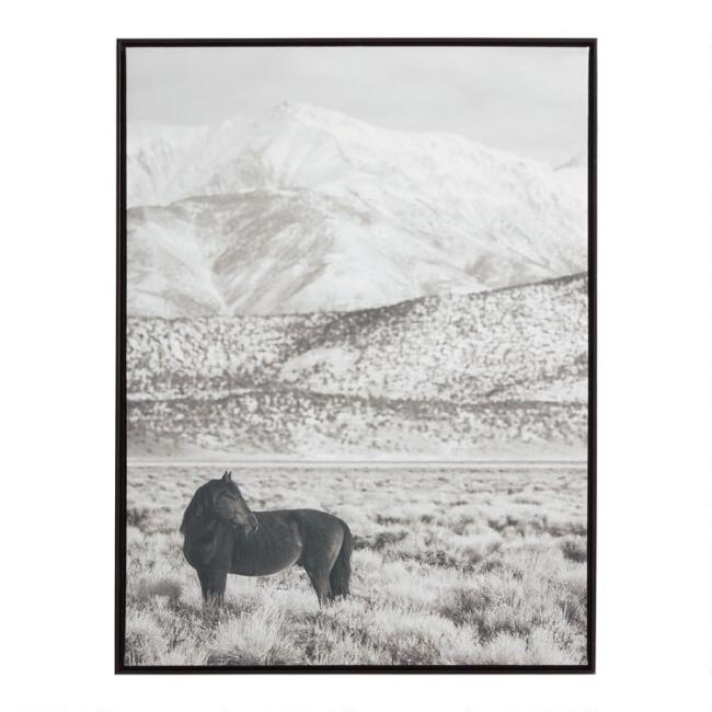 Horse And Hills Black And White Framed Canvas Wall Art
