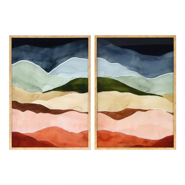 Nature's Layers Diptych Framed Glass Wall Art 2 Piece