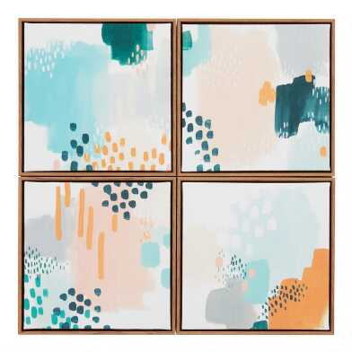 Blue And Orange Abstract Framed Canvas Wall Art 4 Piece