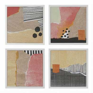 Warm Abstract Framed Canvas Wall Art 4 Piece