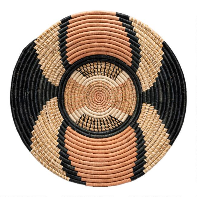 All Across Africa Gray and Coral Woven Disc Wall Decor