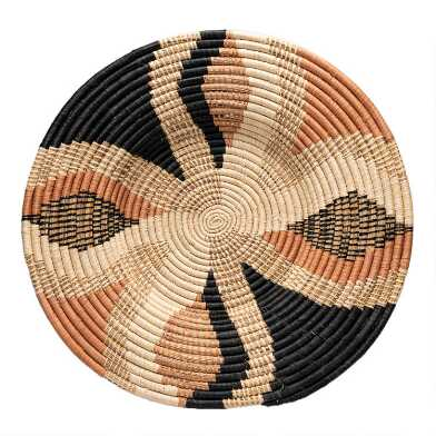 Gray, Coral And Natural Woven Raffia Disc Wall Decor