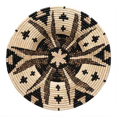 All Across Africa Black and Natural Woven Disc Wall Decor