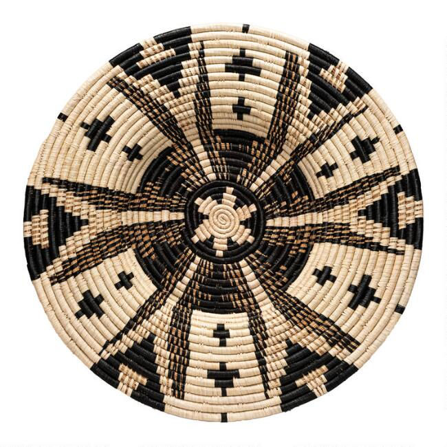 Large Black And Natural Woven Raffia Disc Wall Decor