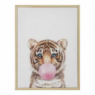 Bubble Gum Tiger By Julia Suhareva Framed Canvas Wall Art