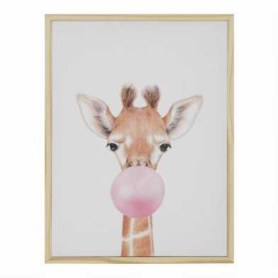 Bubble Gum Giraffe By Julia Suhareva Framed Canvas Wall Art
