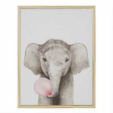 Bubble Gum Elephant By Julia Suhareva Framed Canvas Wall Art