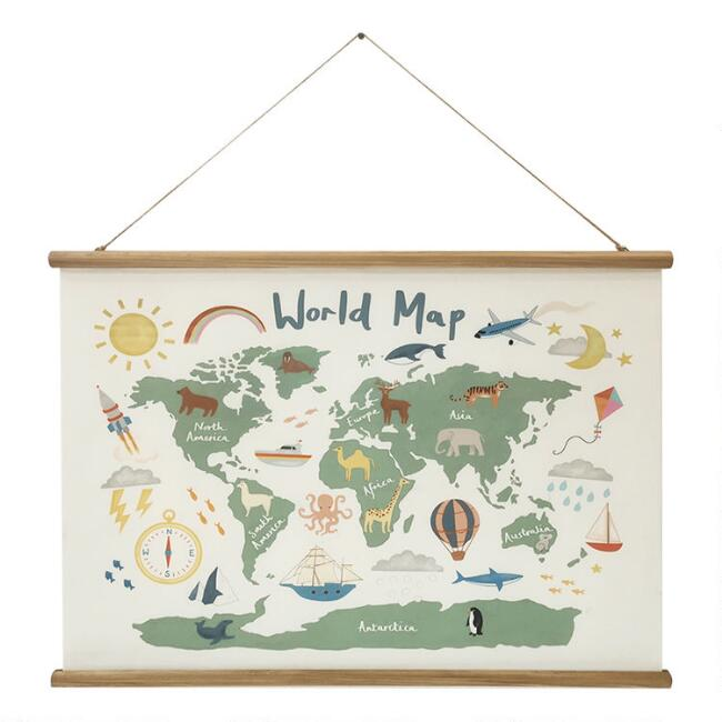 Kids World Map By Hayley Cunningham Scroll Wall Hanging