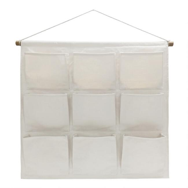 Ivory Canvas Wall Organizer