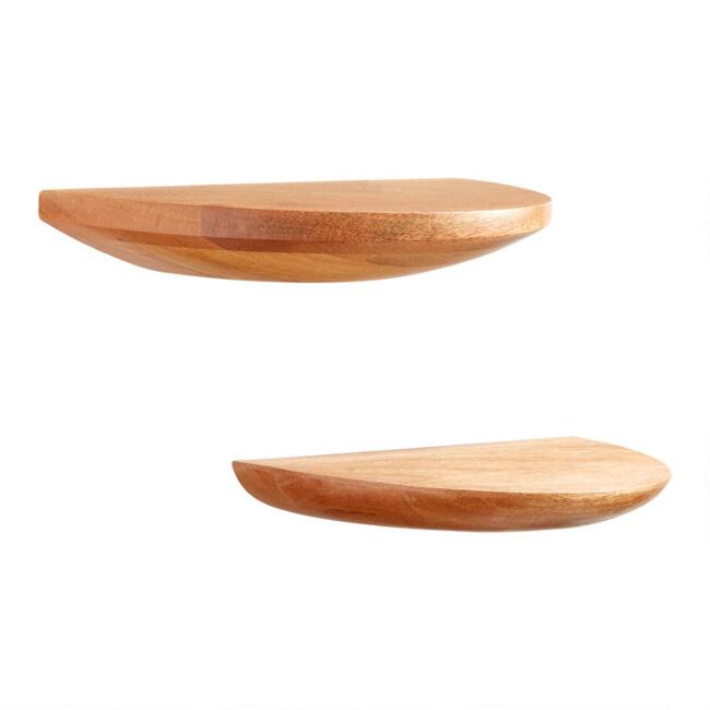 Natural Wood Half Circle Wall Shelves 2 Pack