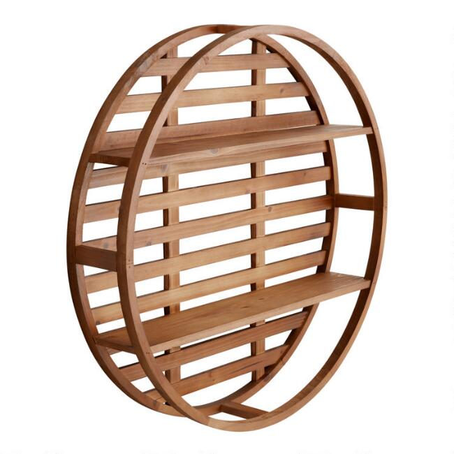 Round Wood Divya Wall Shelf