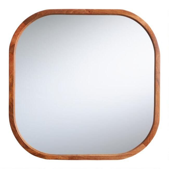 Rounded Square Natural Wood Aiden Mirror