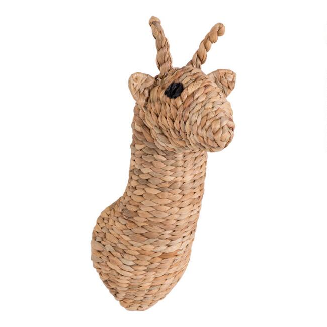 Woven Hyacinth Giraffe Head Wall Decor