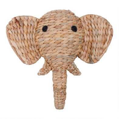 Woven Hyacinth Elephant Head Wall Decor