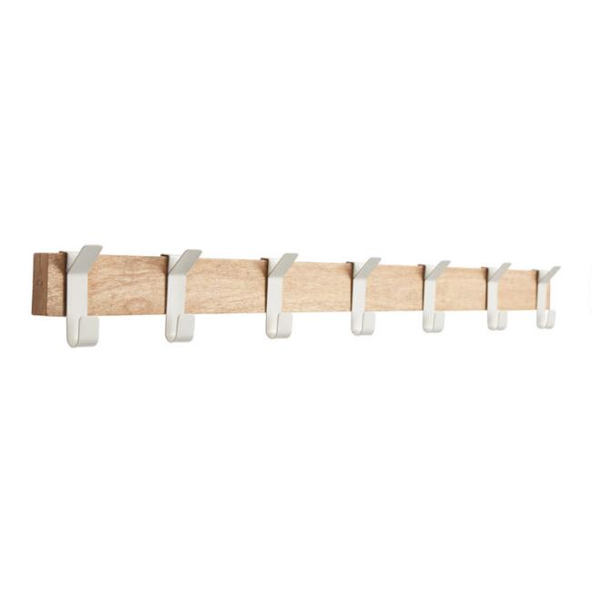 Wood And White Metal Adjustable 7 Hook Wall Rack