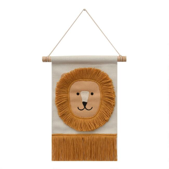 Ivory And Orange Lion Woven Wall Hanging