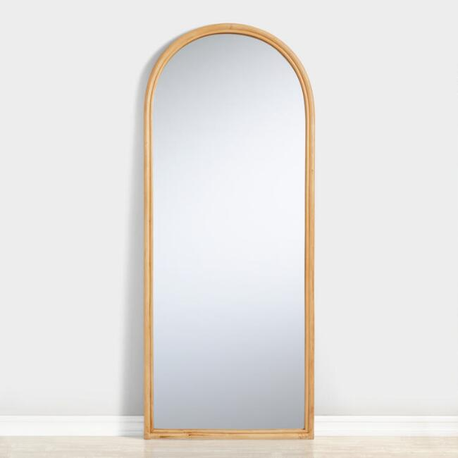 Arched Rattan Leaning Full Length Calla Floor Mirror