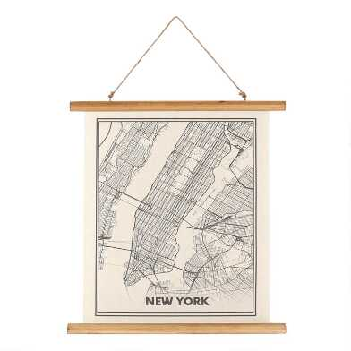 New York Map Linen Scroll Wall Hanging