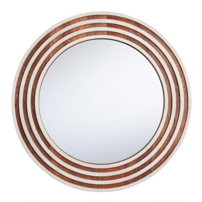 Round Natural and White Wood Ridged Mirror