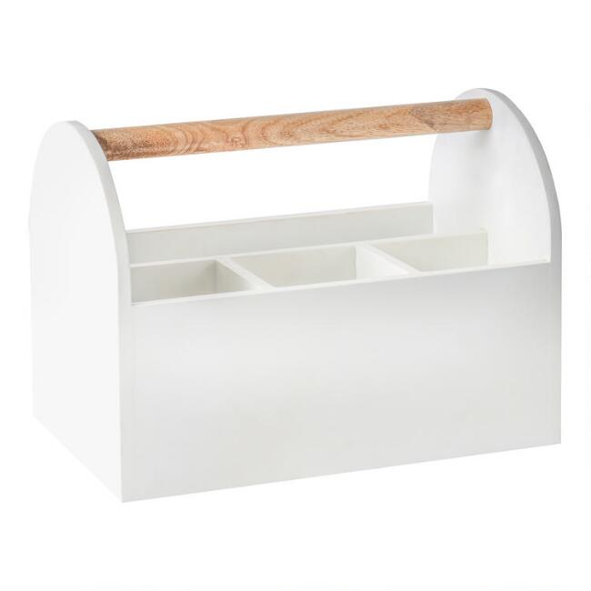 White and Natural Wood Jenna Desk Caddy