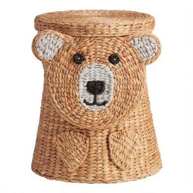 Natural Hyacinth Bear Buddy Basket with Lid
