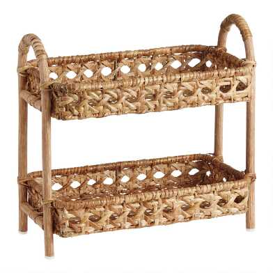 Natural Rattan Cane 2 Tier Farrah Storage Shelf