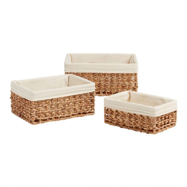 Natural Hyacinth Coiled Cooper Utility Basket with Liner