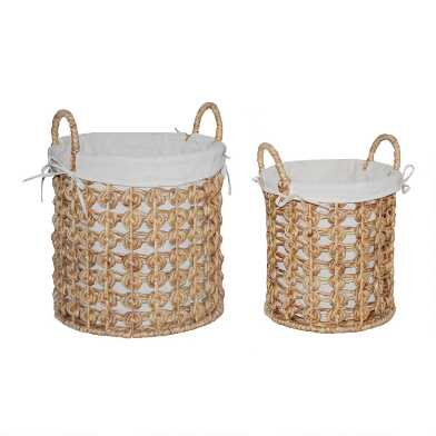Natural Hyacinth Coiled Cooper Tote Basket with Liner
