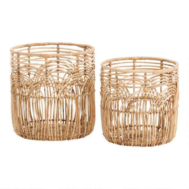 Natural Rattan Open Weave Waverly Basket World Market