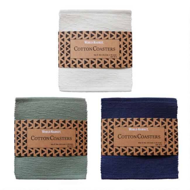 4 Pack Cotton Coasters Set of 2