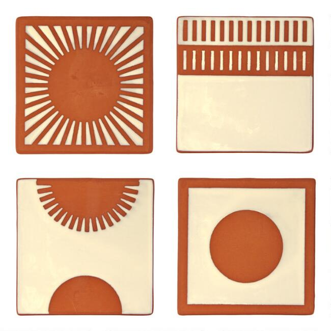 Sun Terracotta Coasters 4 Pack