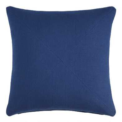Indigo Herringbone Cotton Throw Pillow
