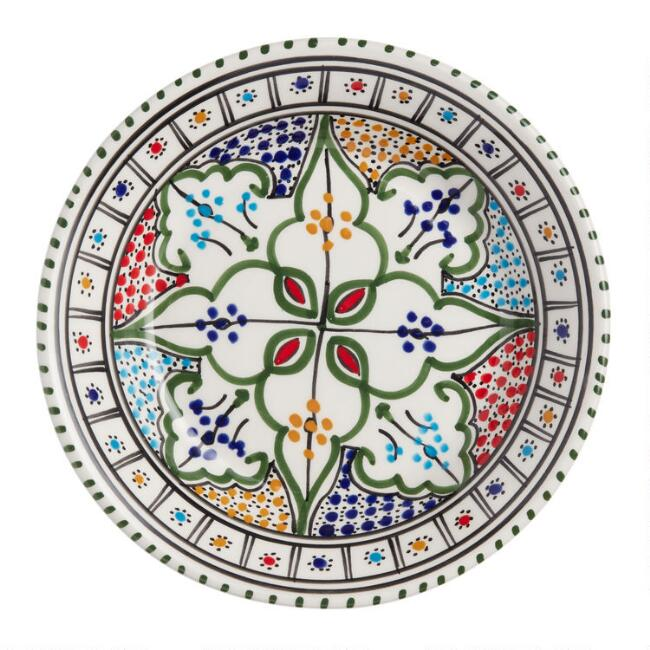 Shallow Hand Painted Ceramic Tunis Bowl Set of 4
