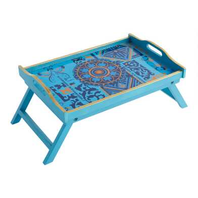 Turquoise Boho Bed Serving Tray with Folding Legs