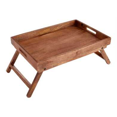 Natural Wood Bed Serving Tray with Folding Legs