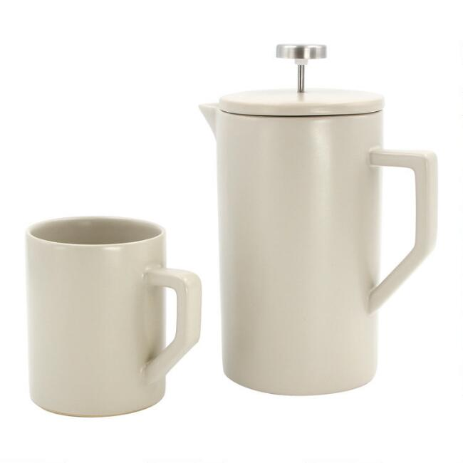 Stone Gray Ceramic French Press and Mug Collection